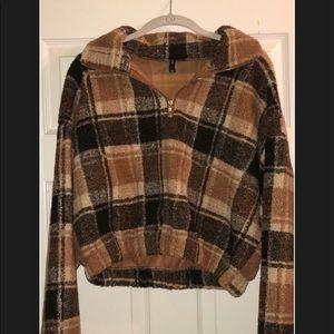 Brown plaid Zaful cropped sweater